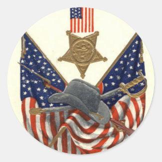 US-Flaggen-Gewerkschafts-ziviler Runder Aufkleber