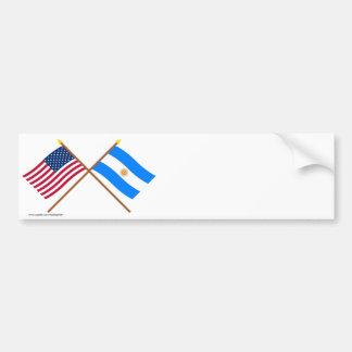 US und Argentinien gekreuzte Flaggen Autoaufkleber