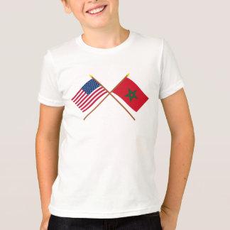 US und Marokko gekreuzte Flaggen T-Shirt