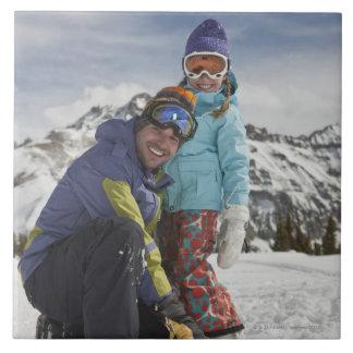 USA, Colorado, Tellurid, Vater und Tochter Große Quadratische Fliese