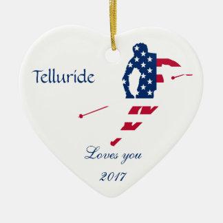 USA-Flagge Ski fahrenden Amerikaners Amerikas Keramik Herz-Ornament