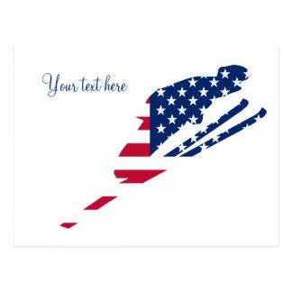 USA-Flagge Ski fahrenden Amerikaners Amerikas Postkarte