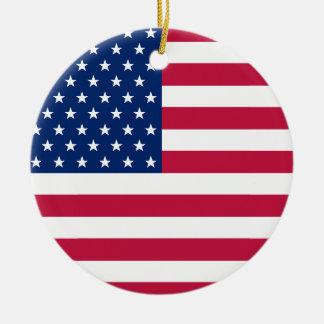 USA-Flagge spielt patriotisches Weihnachten Keramik Ornament