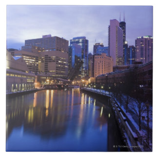 USA, Illinois, Chicago, Stadt reflektierten sich Große Quadratische Fliese