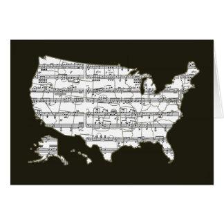 USA-Karte u. musikalische Anmerkungen Karte