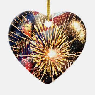 USA kennzeichnen und Feuerwerke Keramik Herz-Ornament