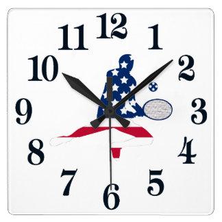 USA-Tennis-Amerikanerspieler Quadratische Wanduhr