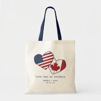 USA und Wedding Kanada-Herz-Flaggen Budget Stoffbeutel