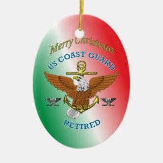 USCG Kapitän Retired Eagle Anchor Shield Ovales Keramik Ornament