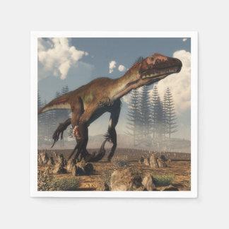 Utahraptor Dinosaurier in der Wüste Servietten