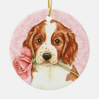 Valentine-Rose Welshie Keramik Ornament