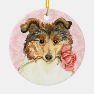 Valentine-Rosen-Collie Keramik Ornament