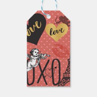 Valentinsgruß-Amoren, Herzen und der Eiffelturm Geschenkanhänger