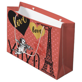 Valentinsgruß-Amoren, Herzen und der Eiffelturm Große Geschenktüte
