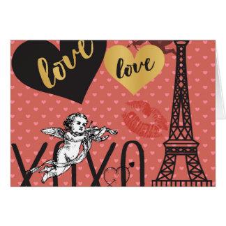 Valentinsgruß-Amoren, Herzen und der Eiffelturm Karte