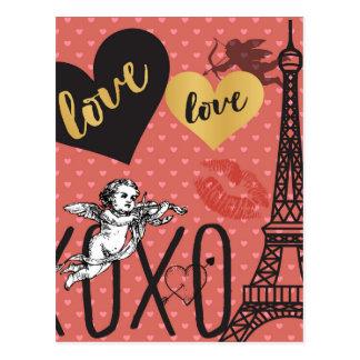 Valentinsgruß-Amoren, Herzen und der Eiffelturm Postkarte