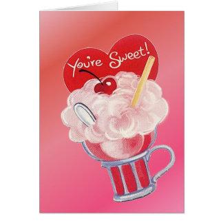 Valentinsgruß-Eiscreme-Soda Karte