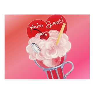 Valentinsgruß-Eiscreme-Soda Postkarte