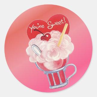 Valentinsgruß-Eiscreme-Soda Runder Aufkleber