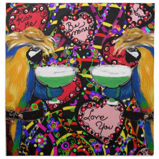 Valentinsgruß-Papageien Stoffserviette