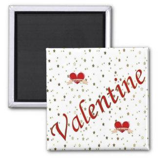Valentinsgruß-rote Herzen auf weißes Quadratischer Magnet
