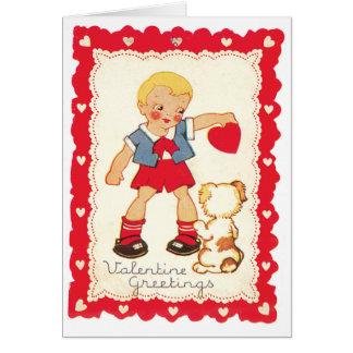 Valentinsgruß von einem Jungen und von seinem Hund Karte
