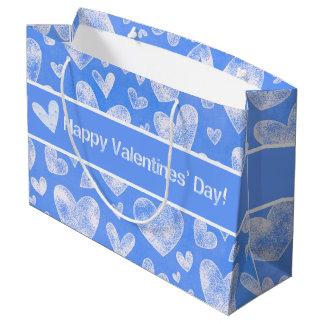 Valentinstag - Spaß-Herzen weiß/Blau Große Geschenktüte