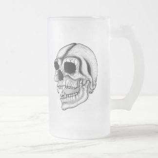 Vampir Schädel-Schwarzweiss-Entwurf Mattglas Bierglas