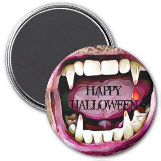 Vampirs-Reißzähne mit Blut-Tropfen-Halloween-Knopf Runder Magnet 7,6 Cm