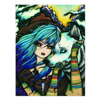 Vampirwerewolf-Schnee-Fantasie-feenhafte Postkarte