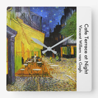 "Van Gogh , ""Cafe Terrace at Night"" Quadratische Wanduhr"