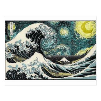 Van Gogh die sternenklare Nacht - Hokusai die Postkarten