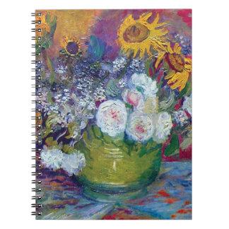 Van Gogh - noch Leben mit Rosen und Sonnenblumen Spiral Notizblock