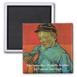 Van Gogh, Schüler (Camille Roulin), Vintage Kunst Quadratischer Magnet