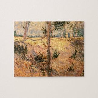Van- Goghbäume auf einem Gebiet an einem sonnigen Puzzle