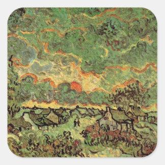 Van- GoghHütten-Zypressen-Erinnerung des Nordens Quadratischer Aufkleber