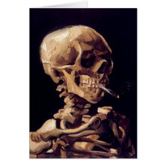 Van- Goghschädel mit brennender Zigarette Grußkarte