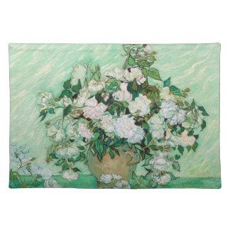 Van- Goghvase mit dem rosa Rosen-Blumen-Malen Stofftischset