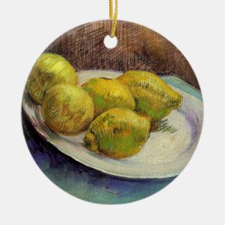Van- Goghzitronen auf einer Platte, Vintage noch Keramik Ornament