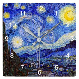 """VanGoghの""""Starry Night""""の壁掛け時計,No.01 Quadratische Wanduhr"""