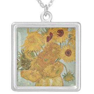 Vase mit 12 Sonnenblumen - Vincent van Gogh (1888) Halskette Mit Quadratischem Anhänger