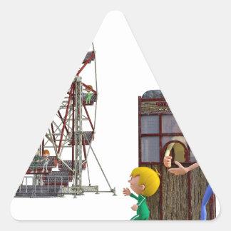 Vater und Sohn bereit, ein Riesenrad zu reiten Dreieckiger Aufkleber