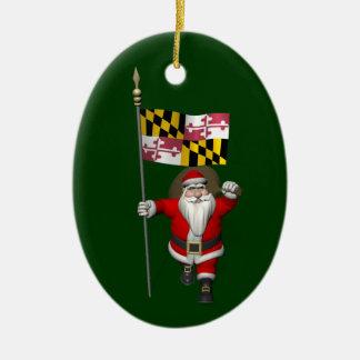 Vater-Weihnachten mit Flagge von Maryland Keramik Ornament