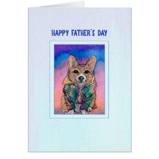 Vatertagskarte, Corgihund in einem hawaiischen Karte