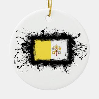 Vatikanstadt-Flagge Rundes Keramik Ornament