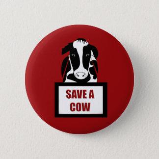 Vegetarisches veganes retten eine Kuh Runder Button 5,7 Cm