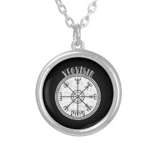 VEGVISIR isländische Kompass Daube Versilberte Kette