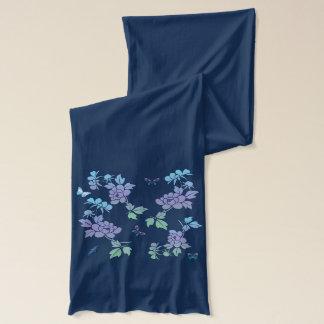 Vektorabstrakte Blumen-Schmetterlinge mit Flowersl Schal