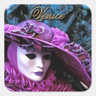 Venedig, Italien (IT) - Karnevals-Maske Quadratischer Aufkleber