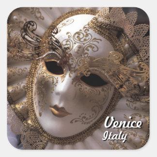 Venedig, Italien (IT) - mysteriöse Karnevals-Maske Quadratischer Aufkleber